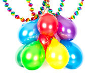 Colorful balloons and garlands. Stock Photos