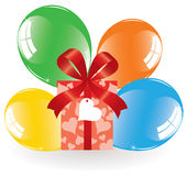 Colorful balloons and a gift box Stock Images