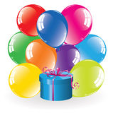 Colorful balloons and a gift box Stock Photo