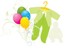 Colorful balloons and green suit for a baby Royalty Free Stock Photo