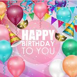 Colorful balloons happy birthday background Stock Photos