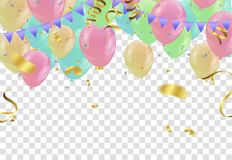 Colorful balloons Happy Birthday on  background.vector. Eps.10 Stock Photo
