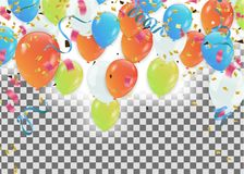 Colorful balloons Happy Birthday  Holiday frame or background wi. Th colorful balloon, cap and streamer. Flat lay style. Birthday or party greeting card with Royalty Free Stock Photography