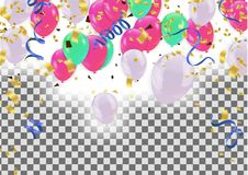 Colorful balloons Happy Birthday Holiday frame or background wi. Th colorful balloon, cap and streamer. Flat lay style. Birthday or party greeting card with copy vector illustration