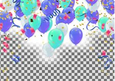 Colorful balloons Happy Birthday  Holiday frame or background wi. Th colorful balloon, cap and streamer. Flat lay style. Birthday or party greeting card with Stock Image