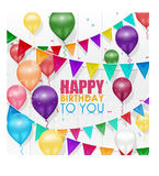 Colorful balloons Happy Birthday on white background vector illustration