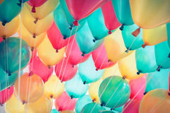 Colorful balloons with happy celebration party Stock Photos