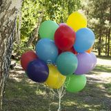 Colorful balloons with happy celebration party background Royalty Free Stock Images