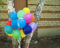 Colorful balloons with happy celebration party background Stock Image