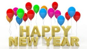 Colorful balloons with Happy New Year text Stock Photography