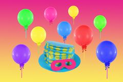 Colorful balloons and hat with mask for party Stock Photos
