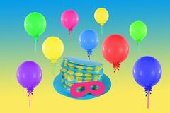 Colorful balloons and hat with mask for party Stock Photo