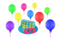 Colorful balloons and hat with mask Royalty Free Stock Images