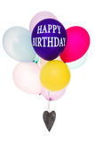 Colorful balloons, heart, copy space, Happy Birthday Stock Photos