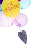 Colorful balloons, heart, copy space, we marrying Royalty Free Stock Photography