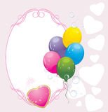 Colorful balloons with hearts. Valentines card Royalty Free Stock Photo