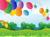 Colorful balloons at the hill Royalty Free Stock Photography