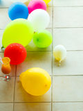 Colorful balloons at hotel swimming pool Royalty Free Stock Image