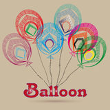 Colorful balloons illustration. Drawing color balloon consists of a lot of lines and geometric shapes image on a beige background Vector Illustration