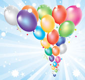 Colorful balloons and light-burst. Vector illustration of colorful balloons and light-burst Stock Images
