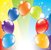 Colorful balloons and light-burst Royalty Free Stock Images