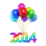 Colorful Balloons New Year 2014. 3d render Colorful Balloons New Year 2014 (isolated on white and clipping path Stock Photos
