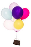 Colorful balloons, old sign, copy space Royalty Free Stock Photos