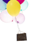 Colorful balloons, old sign, copy space Stock Images