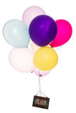 Colorful balloons, old sign, invitation Stock Photo