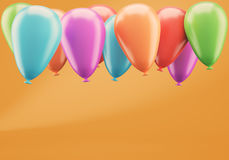 Colorful balloons on orange background. 3d rendering Royalty Free Stock Images