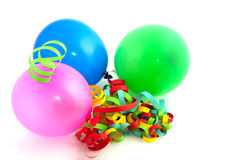 Colorful balloons and paper chains Stock Photos