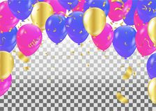 Colorful balloons party banner with balloons isolated on backgro. Und. confetti and ribbons. Vector illustration Stock Images