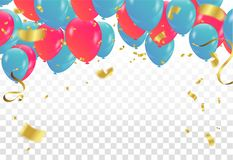 Colorful balloons party banner with balloons isolated on backgro. Und. confetti and ribbons. Vector illustration Royalty Free Stock Image