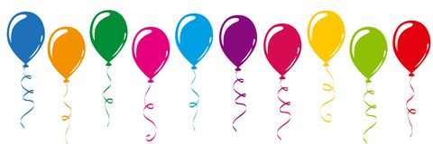 Colorful balloons in rainbow colors royalty free illustration