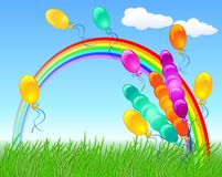Colorful balloons and rainbow. Colorful balloons flying to the rainbow Royalty Free Stock Image