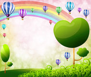 Colorful balloons. Rainbow and tree Stock Images