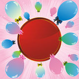 Colorful balloons and red label Royalty Free Stock Images