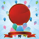 Colorful balloons and red label Royalty Free Stock Image