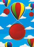Colorful balloons with red labels Stock Image