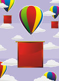 Colorful balloons with red labels Stock Photography