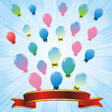 Colorful balloons and red ribbon Stock Images