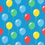 Colorful balloons seamless simple pattern on blue background stock illustration