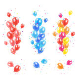 Colorful balloons. Set of colorful balloons and confetti on white background, illustration Stock Images