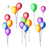 Colorful balloons set. Watercolor hand drawn illustration, isolated on white background.