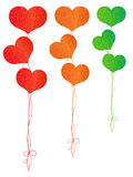 Colorful balloons in the shape of hearts Royalty Free Stock Images