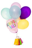 Colorful balloons and shopping bags, summer sale. Colorful balloons and shopping bags, text summer sale, isolated on white Royalty Free Stock Photo