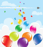 Colorful balloons in the sky. Vector bunch of colorful balloons in the sky Royalty Free Stock Photography