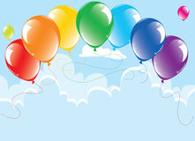 Colorful balloons in the sky. Bunch of colorful balloons in the sky, vector Royalty Free Stock Photography