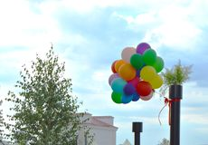 Colorful balloons on sky background in summer city Park Royalty Free Stock Image