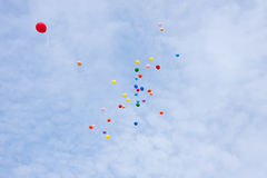 Colorful balloons in the sky Stock Images